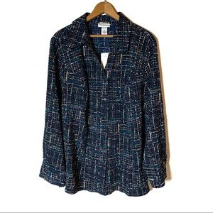 CATHERINES BUTTON DOWN BLOUSE ROLL SLEEVES 1X NWT